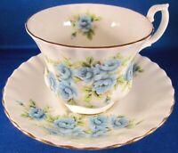 Royal Albert Bone China Tea Cup & Saucer - Blue Flowers - England