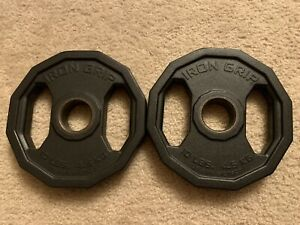 Pair Iron Grip Urethane Coated Olympic Weight Plates 2 10lbs Coated Made In Usa
