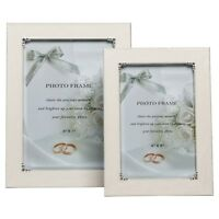 Romance Cream Enamel Pearl And Silver Detail Finish Photo Picture Display Frame