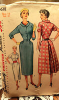 Vtg 1950s Simplicity 4618 bust 32 Cuffed Kimono Sleeves Dress Sewing Pattern