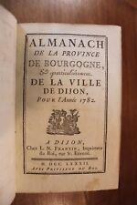1782 Dijon Bourgogne Almanach Bibliophilie Reliure Superbe Grands noms fonctions