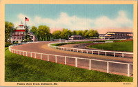Vintage 1943 Pimlico Horse Race Track Field View Baltimore Maryland MD Postcard