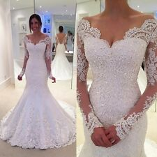 Custom White Lace Wedding Dresses Mermaid Long Sleeve Pearls Formal Bridal Gowns
