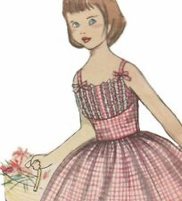 Vintage 1950s Girls Dress SEWING PATTERN Sun Dress Flower Girl Size 6-7 COPY