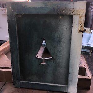 "c1900 pine TREE cutout design shutter panel 16.5"" w x 19.5"" h green paint"