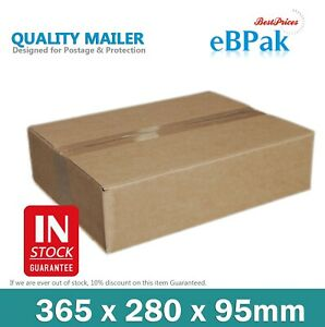 50x Mailing Box 365 x 280 x 95mm Shipping Carton Fit 5KG / Extra Large Satchel