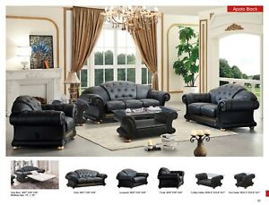 Apolo Living Room Set with Sofa Bed in Black Genuine Italian Leather 6 Piece