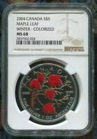 2004 CANADA $5 MAPLE LEAF - WINTER - NGC MS68 /w ALL PACKAGING - SILVER