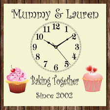 Personalised Family Children Cup Cake Mum Kitchen Clock Present Mother's Day