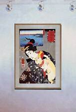 Lady and Cat Dreaming of the Sea 15x22 Japanese Print Asian Art Japan