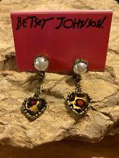Leopard Heart Dangle Drop Pierced New Betsy Johnson Faux Pearl