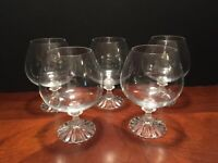 """SET Of 5 Crystal Mikasi large Brandy Snifters THE RITZ - 5 3/4"""""""