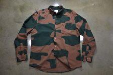 WeSC Men's Large Brown Green Camo Long Sleeve Cotton Designer Fashion Hype Shirt