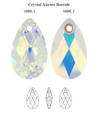 Original Swarovski 6106 Pera Colgante de cristal de Aurore Boreale AB 16 Mm