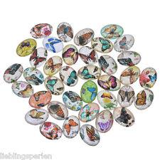 20 Oval Schmetterling Glascabochons Perlen zum Kleben Klebstein 1.8x1.3cm LP