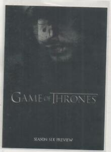Game of Thrones Season 6 Preview DOUBLE-SIDED Promo Trading Card