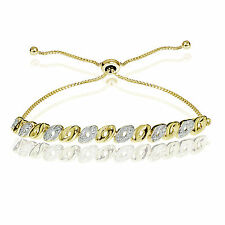 Yellow Gold Flash Sterling Silver Diamond Accented Oval Adjustable Bolo Bracelet