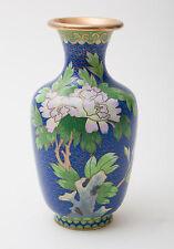 Chinese Blue Cloud Ground Cloisonne Enamel Vase with Floral Design