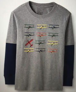 HANNA ANDERSSON Boys Size 18-24 Months 80 Cm LS Graphic Tee Gray Planes New
