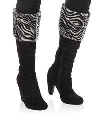 New Women's Faux Fur Cuffed High Heel Black Boots Size 7 Zebra Print Fold