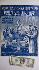 COMIC PATRIOTIC WWI Sheet Music, HOW YA GONNA KEEP EM DOWN ON THE FARM, Paris