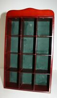 """Cherry Wood Wall Shelf Curio Cabinet or Tabletop Display Case 9.75"""" x 3"""" x 17""""H"""