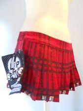 Nos Lip Service Red Plaid Mini Short Pyramid Stud Skirt Pleated Punk Rocker XS