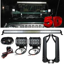 5D 50Inch 480W CREE Led Light Bar+Mount Brackets +Wiring Kit for Jeep TJ 1997-06