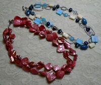 VINTAGE TO NOW PINK & BLUE SHELL BEADED BOHO NECKLACE LOT