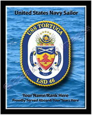 USS Tortuga LSD 46 Personalized Ship Crest Print on Canvas 2D Effect