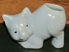 Awesome Vintage Light Blue Ceramic Kitty Cat Planter-Cute !