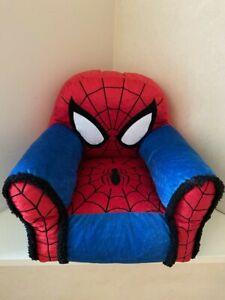 Marvel Spiderman Kids Plush Sofa Figural Bean Bag Chair With Sherpa Trimming USA