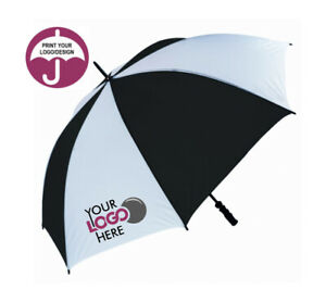 Promotional Golf Umbrella Custom Personalised with your Logo - Black & White