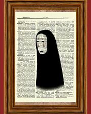 No Face Spirited Away Dictionary Art Print Poster Picture Anime Ghibli