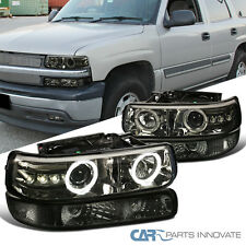 99-02 Silverado 00-06 Tahoe Smoke LED Halo Projector Headlights+Bumper Lamps Set