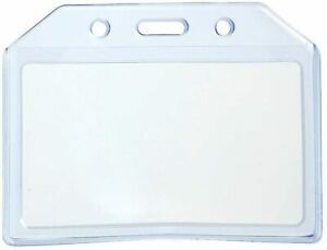 5x DURABLE Clear Blue Soft Plastic Horizontal ID Card Badge Holder Pocket Pouchs
