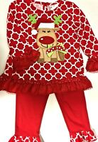 NWT Rare Editions 2pc Outfit Baby 24 Months 24M Red Tunic & Leggings w Reindeer
