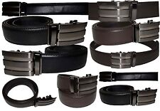 "Lot of 2 Men's Leather Belt Black & Brown Automatic lock Up to 43"" Dress belt BN"
