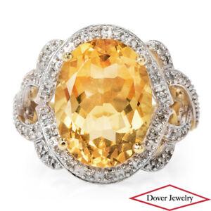 Estate Diamond 8.65ct Citrine 10K Gold Lovely Cluster Cocktail Ring 7.2 Grams NR