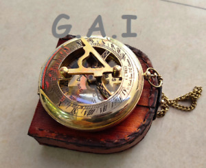 Brass Antique Sundial Compass Push Button Engraved With Chain And Leather Case