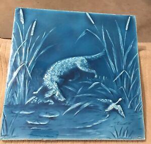 """Minton Hollins & Co Tile Works Blue Art  8"""" 1880s """"Dog Duck Hunting"""" #4"""