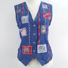 Napa Valley Petites Womens Small SP Patriotic Floral Embroidered Patchwork Vest