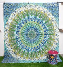 Queen Size Mandala Tapestry Printed Wall hanging Green Ombre Bedsheet Wall Decor