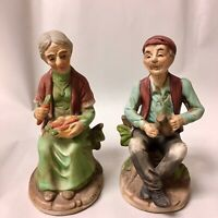 """Vintage Old Man and Woman  Set made in Taiwan app. 6"""" tall"""