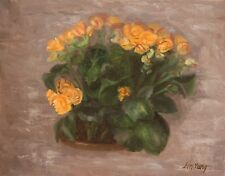original oil painting of begonia still life