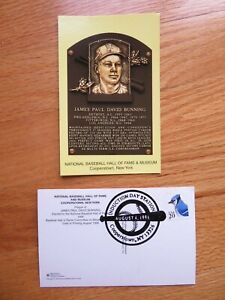 JIM BUNNING Induction HALL OF FAME Plaque August 4, 1996 CANCELED Stamp PHILLIES