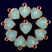 10pcs Wrapped Sky Blue Titanium Crystal Heart Pendant Bead 13x12x2mm DC201955010