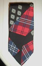 "BERT PULITZER CASUALS SILK PLAID NECK TIE Red/Navy/Black Plaid 3-1/4""w x 54 L"