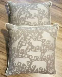 """2 Jaipur Animal Pillows Cushions Down Duck Feathers 20"""" x 20"""" TAUPE / Grey NGP27"""