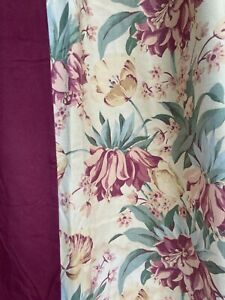 Vintage Floral Drapery Curtains with Burgundy 2 Panels with Lining